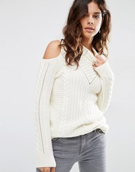 Asos Jumper In Cable Stitch With Cold Shoulder Cream