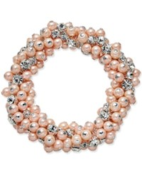 Charter Club Silver Tone Imitation Pink Pearl And Crystal Cluster Stretch Bracelet Only At Macy's Silver Tone