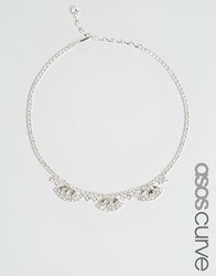 Asos Curve Bridal Jewel Choker Necklace Crystal Clear
