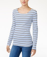 Maison Jules Striped Zip Detail Top Only At Macy's Washed White Combo