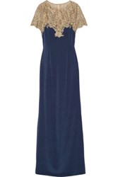 Marchesa Notte Metallic Embroidered Tulle And Stretch Silk Gown Storm Blue