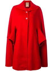 Pascal Millet Button Front Cape Coat Red