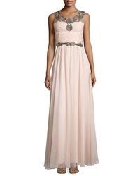 Notte By Marchesa Beaded Sleeveless Pleated Gown Blush