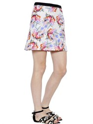 Ungaro Floral Printed Silk Twill Skirt