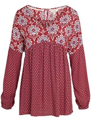 Fat Face Beth Gypset Damask Blouse Flame
