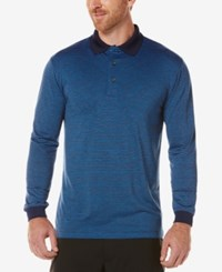 Pga Tour Men's Heathered Long Sleeve Polo Navy Heather