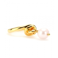 Makri For The Row Yellow Gold Plated 950 Silver Knot Ring With Pearl