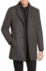 Vince Camuto Car Coat With Removable Bib Grey
