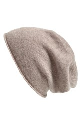 Women's Halogen Slouchy Cashmere Beanie Brown Tan Cobblestone Heather