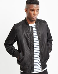 The Idle Man Lightweight Nylon Ma 1 Bomber Jacket Black