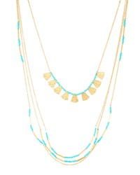 Fragments For Neiman Marcus Fragments Long Golden Multi Strand Beaded Necklace Turquoise