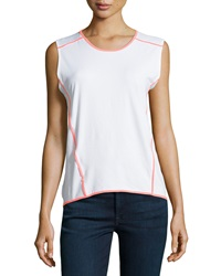 Neiman Marcus Neon Trim High Low Tank White Neon Coral