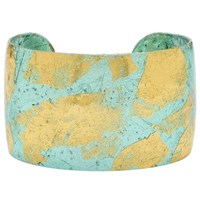 Evocateur Thick Gold Leaf Cuff Silver