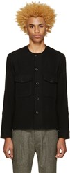 Christophe Lemaire Black Collarless Wool Shirt