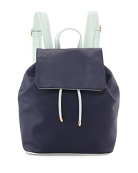 Neiman Marcus Contrast Trim Flap Top Backpack Navy Mint