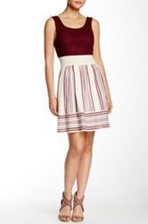 Trixxi Mixed Media Fit And Flare Dress Red