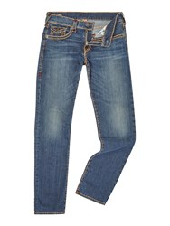 True Religion Geno Super Slim Fit With Flap Mid Wash Jeans Denim Mid Wash