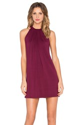 Michael Stars Sasha Sleeveless Draped Halter Dress Wine