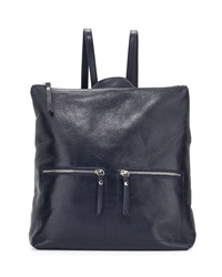 Neiman Marcus Made In Italy Smith Square Leather Backpack Midnight Blue