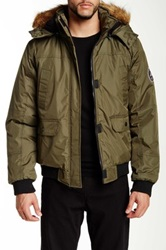 English Laundry Hooded Faux Fur Trim Bomber Jacket Green