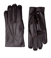 Harrods Of London Fur Lined Leather Gloves Unisex Dark Brown