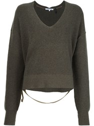 Helmut Lang Deep V Neck Jumper Green