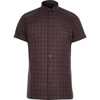 River Island Mens Red Check Popper Short Sleeve Slim Shirt