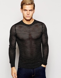 Antony Morato Wool Mix Lightweight Waffle Jumper Black