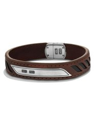 David Yurman Graphic Cable Leather Id Bracelet Brown