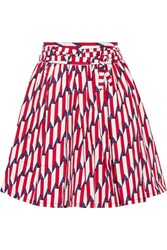 Marc Jacobs Printed Stretch Cotton Poplin Wrap Skirt Red