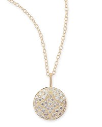 18K Small Pave Diamond Aladdin Disc Necklace