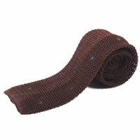 Nick Bronson Knitted Silk Spot Brown Navy