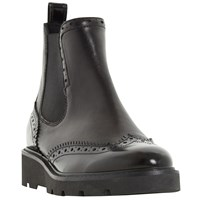 Dune Pacey Flatform Brogue Ankle Boots Black