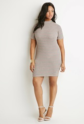 Forever 21 Textured Stripe Shift Dress Cream Multi