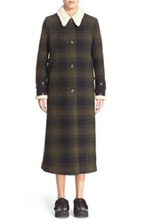 Maison Martin Margiela Women's Mm6 Wool Blend Check Coat With Faux Shearling Collar Military