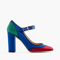 J.Crew Mary Jane Pumps In Colorblock Satin Midnight Ocean