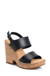 Born Women's Born 'Annaleigh' Wedge Sandal Black Leather