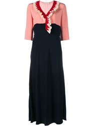 Marni Ruffle Silk Midi Dress Blue