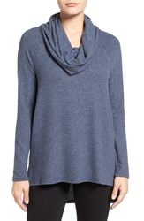 Gibson Women's Convertible Neckline Cozy Fleece Tunic Heather Navy Midnight