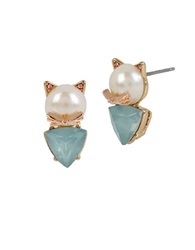 Betsey Johnson Faux Pearl Cat Stud Earrings Blue