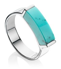 Monica Vinader Linear Turquoise Stone Ring Female Silver