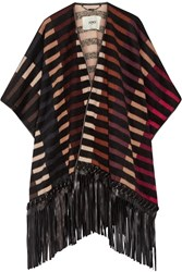 Fendi Fringed Leather Trimmed Striped Camel Hair Blend Cape Black