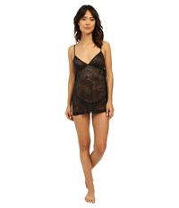 Natori Feathers All Over Lace Babydoll Set Black Women's Pajama Sets