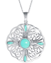 Macy's Manufactured Turquoise Multi Stone Pendant Necklace 10Mm In Sterling Silver
