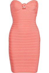 Herve Leger Strapless Bandage Mini Dress Papaya