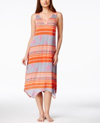 Ellen Tracy Striped Handkerchief Hem Long Nightgown