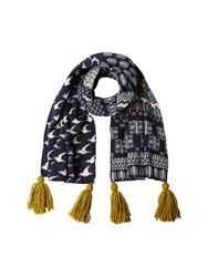 White Stuff Bird Jacquard Scarf Grey