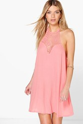 Boohoo Crochet Sundress Coral