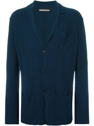 Nuur Collared Button Down Cardigan Blue