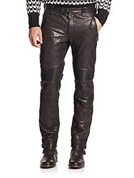 Belstaff Quilted Leather Moto Pants Black